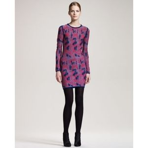 Gryphon NY Animal Print Long Sleeve Wool Dress